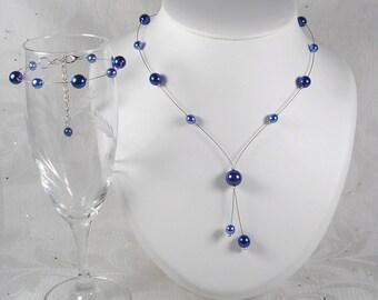 Blue wedding set mariae set blue Royal dark blue and - Classic Collection - Marina necklace - wedding-wedding jewelry bridal necklace