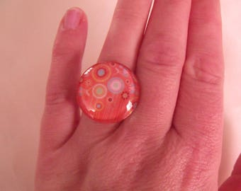 ring cabochon 25mm orange and multicolored glass