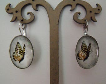 SALE oval glass Butterfly cabochon earrings