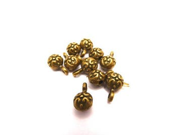 10 beads for pendant in antique bronze metal