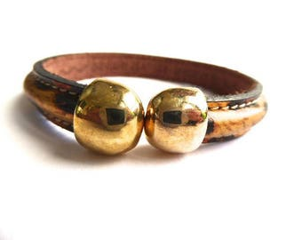Bracelet leather leopard with gold tip Kit
