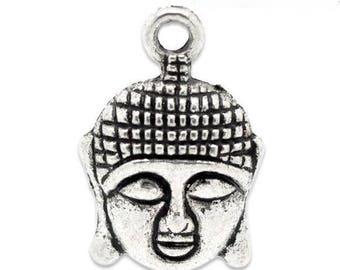 Silver metal 22mm x 15mm Buddha head charm