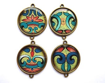 4 connector Cabochon pendants resin 2.5 cm Asian Theme