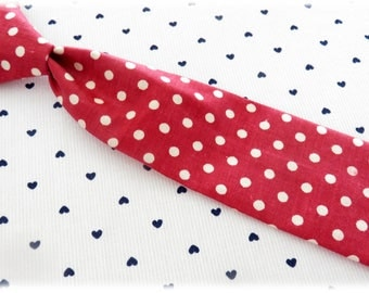 Child tie - red polka dot fabric - one size