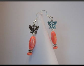 Butterflies in silver and Pearl polymer clay earrings