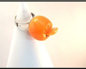 Orange polymer clay ring