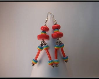 Red polymer clay and lucite bead earrings.