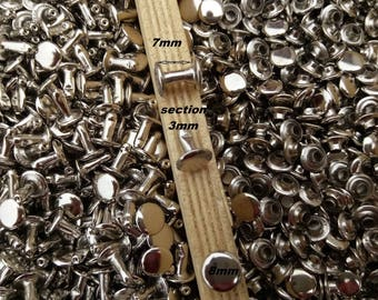 2P8/9 stainless steel X 50 Rivets stem head 8 mm X 50 PCs Rivets double head 8mm stainless silver color