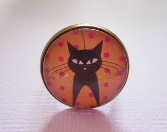 """""""Black cat and polka dot sweet"""", cabochon ring bronze, costume jewelry"""