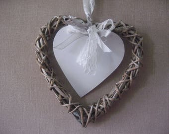 Free shipping! heart made of wicker and lace shabby