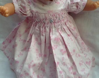 dress has smocked pink doll 36 cm