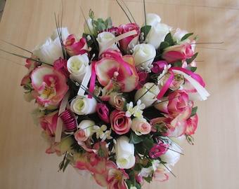Bridal bouquet, fuchsia and cream heart shaped