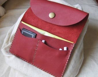 Goji Berry red leather tobacco pouch