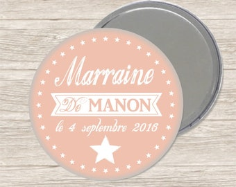 Godmother 7.5 cm mirror / name + date