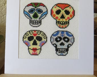 """Hand embroidered card: 4 """"skull"""" colorful Mexican style"""