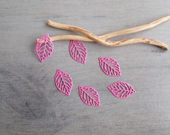 Hot pink set of 6 prints leaves filigree