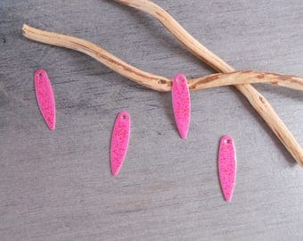 Set of 6 sequins shuttle enamelled pink and glittery copper 21 x 5 mm