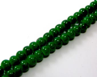 Set of 20 4 mm bright green glass beads