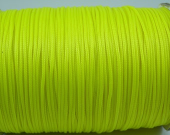5 meters for jewelry diameter 1 mm neon green waxed cord