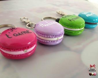 (School, MOM, key, message) customizable macaron keychain
