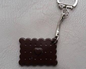 Resin Keychain in the dark chocolate cookie