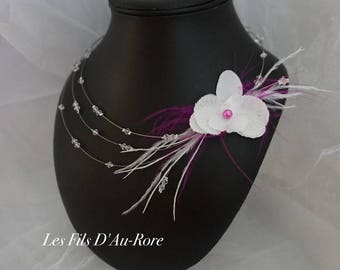 Fuchsia and white Rhinestones, feathers & Orchid MERILLE wedding necklace