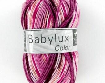fil à tricoter imprimé jacquard orange N°302 pour bébé BABYLUX COLOR