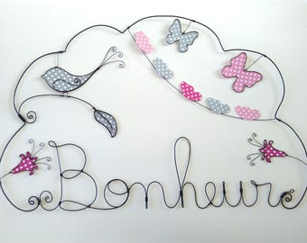 """Name personalized wire """"Around the world balloon with stars"""" pattern XL 40 * 55cm"""