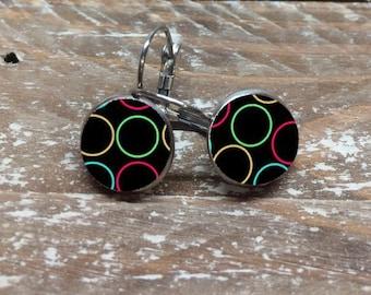 """Stainless steel - Mini """"Multicolored rings"""" earrings"""
