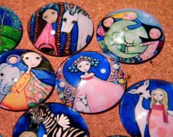 10 cabochons 25 mm domed glass - round-print - little girl-Unicorn-animals-PF151