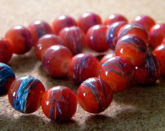 glass 10 mm orange - 3 PE205 trefilee 20 beads