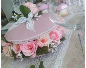 Macaron Fleuri de roses,Décoration de table et de réception style Shabby Chic