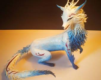 Kitsune - White Fox statue fantasy animal sculpture original handmade OOAK figure figurine creature totem surreal posable animal