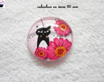 1 cabochon clear 20mm Daisy cat theme
