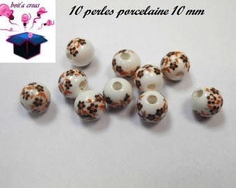 porcelain with Brown flowers 10 mm 10 beads
