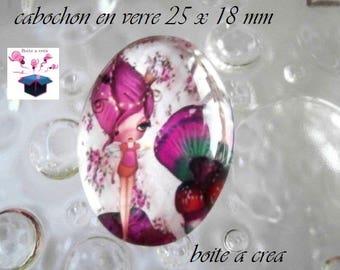 1 cabochon 25mm x 18mm miss mushroom glass