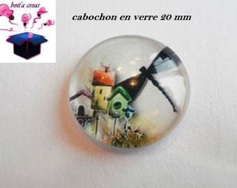 1 cabochon clear 20mm Cat House theme