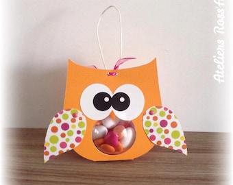 Box dragees bapeme original OWL wings orange ball polka dot patterns