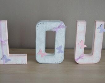 First 3 letters in papier mache 20cm, nursery decor kids / christening / birthday