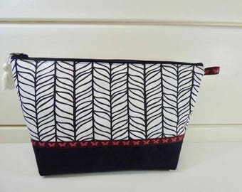 Toiletry bag, black and white, feathers, suede and cotton Kit ability, inner fitted