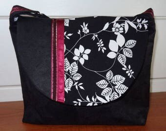 SAC bandoulière en tissu black faux suede and fabric Japanese floral