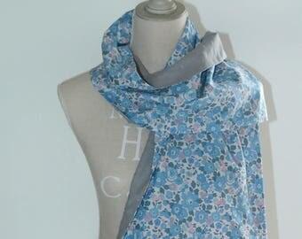 Scarf scarf/shawl liberty Betsy blue and grey satin 33 x 136 cm