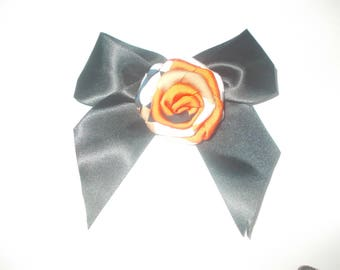 Black satin flower beije and orange bow tie brooch