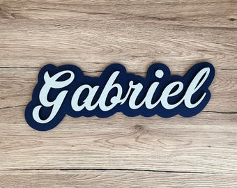 Personalized name collection dreamer - Gabriel - Blue Navy and gray - letter wood - child's name - boy nursery decor