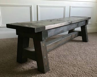 Farmhouse Bench | Rustic Bench | Wood Bench | Entryway Bench | Kitchen Bench  | Mudroom