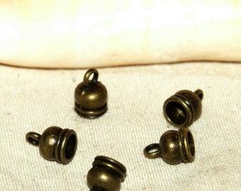 5 color smooth bronze skullcap bells X 7 X 6 mm