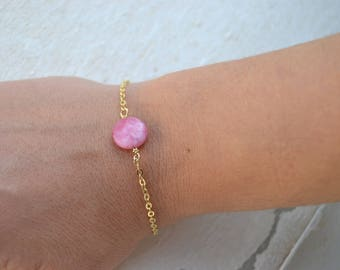 Pink agate and gold plated bracelet