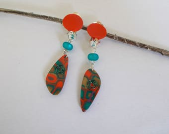 clips in polymer clay earrings