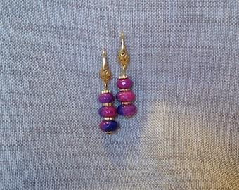 Earrings Fuchsia and purple agate dangling rings