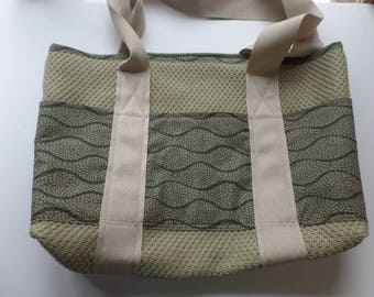 Tote Bag with Outer Pockets Sage and Slate for Shopping, Books, School, Market, Diapers, Knitting and Sewing Projects